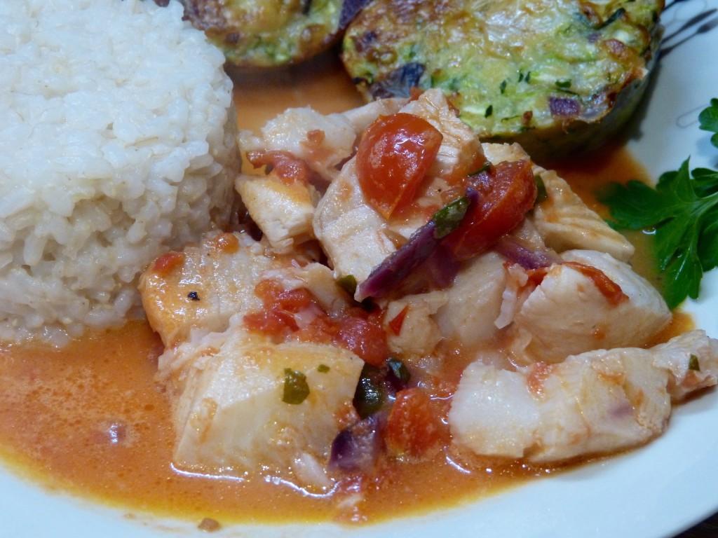 Flétan en sauce coco et agrumes