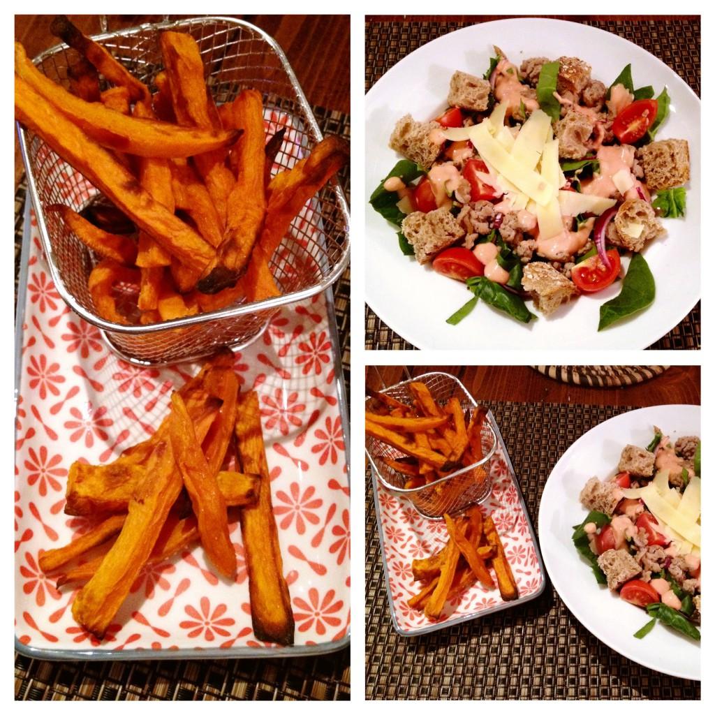 Salade cheese burger et ses frites de patates douces au four