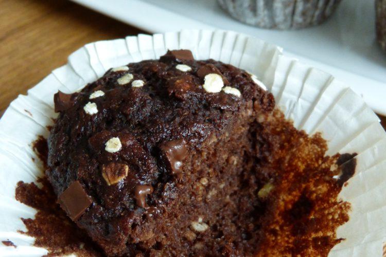 Muffins énergétiques aux flocons d'avoine, chocolat et banane