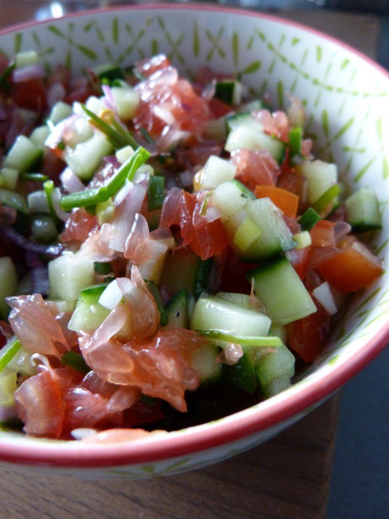 Filet de lieu noir, sauce salsa au pamplemousse